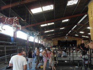 Lounge on the farm festival cow shed left