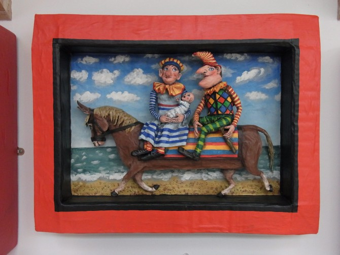 Punch and Judy on a long donkey
